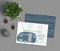 Happy Camper Birthday Invitation, Boy Camping Party, 1st Birthday Invite, Camp Navy & Mint Printable, Little Adventurer, Trailer