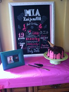 Mia's chalkboard I made for her first birthday.