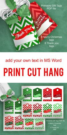 #MERRY #CHRISTMAS #hang #gift #tags - #THANK #YOU hang gift tags  - #chevron hang gift tag - text over bunting - Christmas colors - #edit #text by #yourself in #Word - #printable - #digital goods - instant #download    Set of 2 printable PDF files Instant Download - files by #ArigigiPixel .