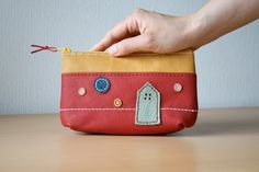 Leather pouch, Upcycled, Zipper pouch, Lighthouse, Bag organizer