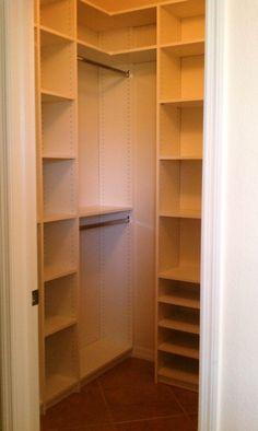 Small Walk In Closet Design Idea With Floor To Ceiling Wall Shelving Unit And Short Corner Metal Rod For Hangers Small Closet Design, Walk In Closet Small, Reach In Closet, Small Closets, Closet Designs, Closet Space, Small Bedrooms, Narrow Closet, Deep Closet