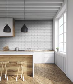 50 Best Small Kitchen Remodel Designs for Smart Space Management - Home & Garden 3d Wallpaper Red, Stripped Wallpaper, Classic Wallpaper, Black And White Wallpaper, Brick Wallpaper, Bathroom Wallpaper, Wallpaper Paste, Washable Wallpaper, Small Tiles