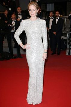 Emily Blunt in a silver sequined body contouring Stella McCartney gown #Cannes2015