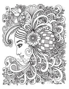 instant digital download - adult coloring page - woman flower design