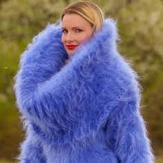 BLUE Hand Knitted Sweater Fuzzy Huge Cowlneck Soft Mohair Dress by SUPERTANYA #SuperTanya #CowlNeck