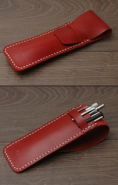 Leather Pen Case #personalized #initials #minimal #minimalist #red #pencil #gift #handmade