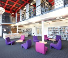Technical University TU Delft, Netherlands, with Vitra's Amoebe chairs by Verner Panton.