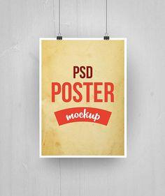 Free Paper Poster Mockup PSD (28.6 MB) | free-designs.net | #free #mockup #photoshop