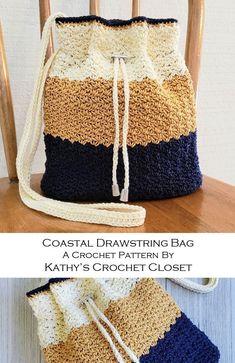 Impressive Yet Simple Crochet Patterns 2019 - Diy & Crafts Crochet Drawstring Bag, Drawstring Bag Pattern, Crochet Backpack, Diy Crochet Bag, Crochet Purse Patterns, Crochet Market Bag, Crochet Diaper Bag, Simple Crochet, Crochet Handbags