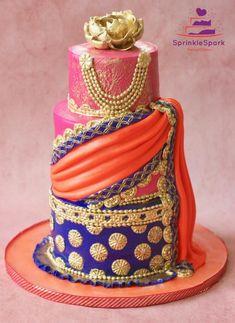Half Saree Ceremony Cake – Cake by SprinkleSpark - Health Indian Cake, Indian Wedding Cakes, Indian Weddings, Fun Cupcakes, Wedding Cupcakes, Gorgeous Cakes, Amazing Cakes, Half Saree Function, Henna Cake