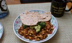 Semi-healthy breakfast: beef chorizo, eggs, green chiles, brocoli, and red pepper. With some hot chile tepin and whole grain artisan tortillas. Mmmmm. - Jose S.