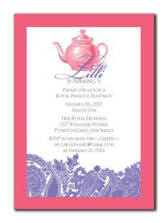 Little princess tea party invitations wording to invite girls to princess tea party birthday invitation 5 x 7 diy by lauraleidesign 2500 filmwisefo
