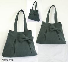 10% off Bridesmaid Gift Set - 3 Bow Purse - Tote Bag - Canvas Or Hemp - Choose your color