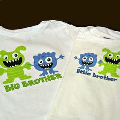 Personalized set of TWO monsters big or little brother OR sister shirts or onesies matching set  you chose design, size, and color. $37.00, via Etsy.