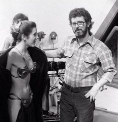 Vintage photo of Carrie Fisher and George Lucas on the set of Return of the Jedi