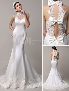Stunning High Neck Mermaid Style Bridal Gown with Sheer Lace Back - Milanoo.com