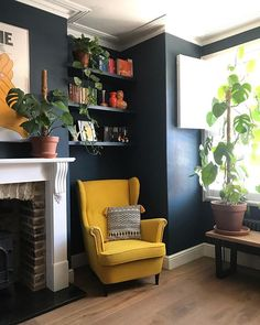 The first space I want to introduce you to is my living room. Even though the house was in a pretty decent condition, we've. My Living Room, Living Room Interior, Living Room Decor, Dining Room, Pine Chests, Colourful Living Room, Ikea Chair, Interior Decorating, Interior Design