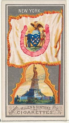 Issued by Allen & Ginter (American, Richmond, Virginia). New York, from the City Flags series (N6) for Allen & Ginter Cigarettes Brands, 1887. The Metropolitan Museum of Art, New York. The Jefferson R. Burdick Collection, Gift of Jefferson R. Burdick (63.350.201.6.22) #newyork #nyc