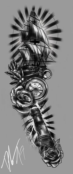 FULLSLEEVE Design - Storm and Sailor by StevenDureckArtworks Valkerie Tattoo, Eyore Tattoo, Tattoo Ship, Dove Tattoos, Small Tattoos, Side Hip Tattoos, New Tattoos, Music Tattoo Designs, Music Tattoos