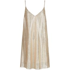 New Look Gold Metallic Pleated Slip Dress (94 RON) ❤ liked on Polyvore featuring dresses, vestidos, gold, gold metallic dress, v neck cocktail dress, gold party dress, metallic mini dress and gold slip dress