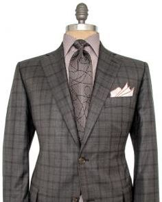 Image of Belvest Grey and Chocolate Plaid Suit