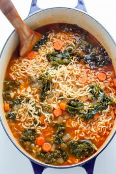 Hearty and Healthy, this Blackened Chicken Ramen Noodle Soup is loaded with carrots, kale, and a TON of flavor! Make this the next time you're craving cozy comfort food - it does the trick every time.