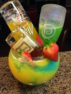 All babes fav drinks in one! Candy Drinks, Liquor Drinks, Cocktail Drinks, Beverages, Liquor Candy, Mixed Drinks Alcohol, Alcohol Drink Recipes, Hennessy Drinks, Glace Fruit