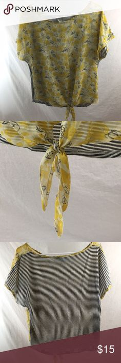 Yellow floral with grey stripe back t shirt Yellow floral print silk like tie front with cotton like white and grey striped back American Rag Tops Tees - Short Sleeve