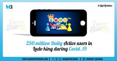 Ludo King wins big during lockdown with 250 million daily active users. It is the 6th most downloaded gaming app on the list and 5th on the android list. It is the only Indian gaming app among the top 10.   #Apps #AppUpdates #MarkupDesigns Digital Marketing Services, App Development, Mobile App, Gaming, Android, Apps, Indian, Big, Design