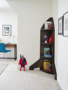 Boys Outer-Space-Bedroom DIY-Rocket-Bookshelf diy kid room ideas Outer Space Bedroom For A Special Family Outer Space Bedroom, Outer Space Theme, Space Themed Nursery, Space Theme Bedroom, Kid Spaces, Boy Room, Room Kids, Bedroom Decor, Bedroom Furniture