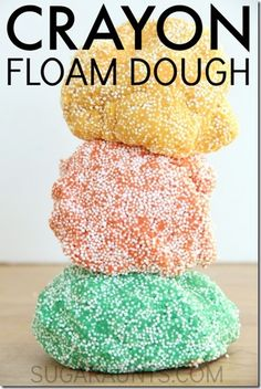 Crayon Floam Dough Recipe - such a fun play dough alternative for sensory play. This stuff is so fun to play with for toddler, preschool, kindergarten, 1st grade, 2nd grade and more!