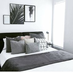 whiane 30 amazing black and white bedroom design ideas for 2020 # amazing # for # black and white be Black White And Grey Bedroom, White Bedroom Design, Grey Bedroom Decor, White Room Decor, White Bedroom Furniture, Bedroom Black, Bedroom Colors, Home Bedroom, Decor Room