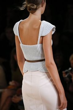 Lovely crochet detail top in the Summer/Spring 2015 collection by Nina Ricci at Paris Fashion Week