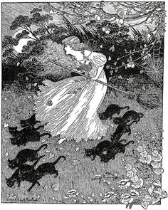 'She saw a little witch dance past', by Ida Rentoul Outhwaite  in 'The Lady of…