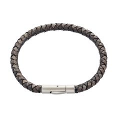 The Albion charcoal leather bracelet