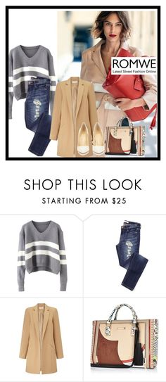"""""""V Neck Striped Grey Sweater"""" by gold-phoenix ❤ liked on Polyvore featuring Longchamp, Miss Selfridge, River Island, Christian Louboutin, women's clothing, women, female, woman, misses and juniors"""