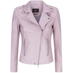 Set Leather Biker Jacket (291.305 CRC) ❤ liked on Polyvore featuring outerwear, jackets, genuine leather jackets, real leather jackets, studded jacket, rider leather jacket and pink jacket