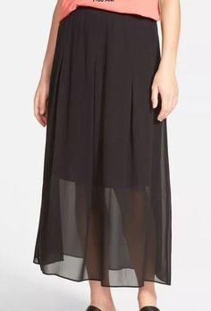 NWT Eileen Fisher Black Pleated Sheer Silk Georgette Midi Skirt Small #EILEENFISHER #Pleated
