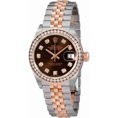 Rolex Lady Datejust Chocolate Diamond Dial Automatic Watch ($13,995) ❤ liked on Polyvore featuring jewelry, watches, crown jewelry, automatic movement watches, diamond bezel watches, analog watches and rolex wrist watch