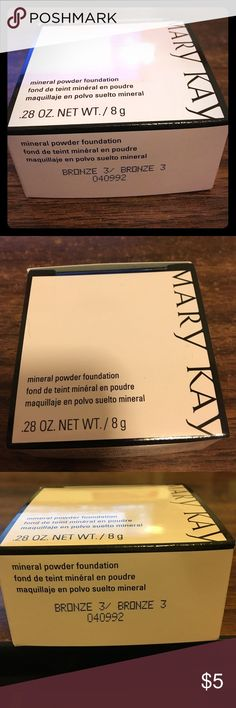 May Kay mineral powder foundation - bronze 3 Bronze 3 mineral powder foundation.  Brand new. Unopened.  Mary Kay. Authenticity guaranteed! Mary Kay Makeup Foundation