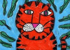 OIL PASTEL TIGER: Using a pencil, make a large circle, then draw a simple tiger face, starting with two eyes, two lines going down the center, a upside down triangle nose and two circles drawn to the sides. Add whiskers, then ears, body and tail. Lastly, triangles may be drawn all around the edges for a tiger look. After the tiger is drawn, draw lots of leaves around the tiger.  When drawing is complete, trace with a heavy, black marker, then color in space with oil pastels.