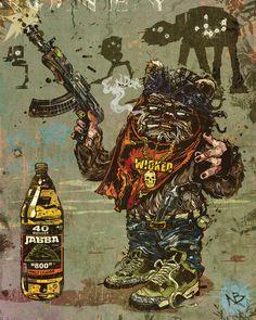 Gangsta Ewok   Wicked   A Lil Ass G   . The Deathside™ Collection .   Dark Tribute to Star Wars   Beery   AK-47 Blaster   AT-AT Killer   Air Jordan Sporting   Jabba '800' Brand 40 oz. Malt Liquor Guzzling   www.BEERYMETHOD.com