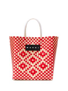 Red and white woven logo tote bag from Marni Market featuring a checkered pattern, a front logo patch, round top handles and a main internal compartment. Baby Cows, Baby Elephants, Cute Tote Bags, Orange Bag, Market Bag, Marni, Calf Leather, Fashion Accessories, Round Top