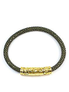 Men's Grey Stingray Bracelet with Silver Lock Sterling Silver, Grey, Bracelets, Leather, Jewelry, Gray, Jewlery, Jewerly, Schmuck
