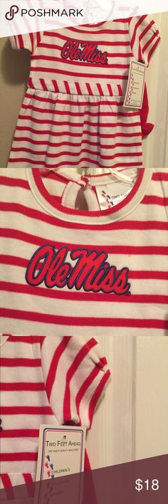 Girls Two Feet Ahead Ole Miss Dress & Bloomers Perfect for your littlest Ole Miss fan. Two Feet Ahead 2-PC Red & White Stripe Dress with solid red bloomers. Dress has Ole Miss appliqué with short puff sleeves. Just add the pom poms! 🏈 Official Collegiate Licensed Product Two Feet Ahead  Dresses Casual