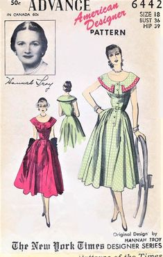 BEAUTIFUL Hannah Troy Dress Pattern ADVANCE American Designer 6442 Cape Collar Full Skirted Day or Party Dress Bust 36 Vintage Sewing Pattern-At So Vintage Patterns® you will find authentic vintage sewing patterns: This is a fabulous origin 1950s Dress Patterns, Dress Making Patterns, Vintage Sewing Patterns, Clothing Patterns, Sewing Ideas, Sewing Projects, Vintage Outfits, Vintage Gowns, Vintage Fashion