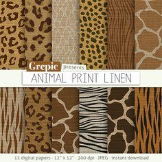 """Animal linen digital paper: """"ANIMAL PRINT LINEN"""" zebra linen   panther   tiger     giraffe   leopard patterns   linen safari backgrounds"""