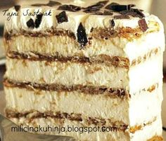Healthy Meals, Foods and Recipes & Tips Jednostavne Torte, Brze Torte, Cake Roll Recipes, Cookie Recipes, Dessert Recipes, Torte Recepti, Kolaci I Torte, Torta Recipe, Banana Split Dessert