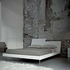 loft bedroom with stone/fresco wall (rem bed by cory grosser for frighetto, italy) Interior Design Color Schemes, Grey Interior Design, Modern Design, Wallpaper Floor, Home Bedroom, Bedroom Decor, Bedrooms, Gray Bedroom, Interior Architecture