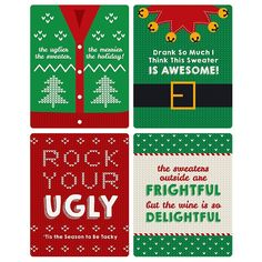 Amazon.com | Ugly Sweater - Holiday & Christmas Wine Bottle Labels - Set of 4: Bar Tools & Glasses